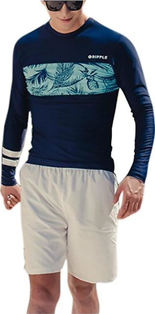 Mens Long Sleeve Rash Guard Set 2-Piece Stretch Quick Drying Swimsuits