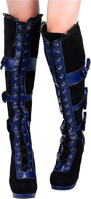 ✫Good Quality✫  Fashion Women Cosplay Black Vegan Leather Over Knee Boots Gothi…