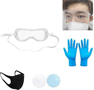 Mask + Filter + Goggles + Gloves Set of Protective Cover