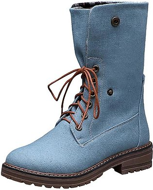 Women Pure Color Round Toe Lace-Up Square Heels Vintage Boots