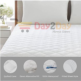 Quilted Waterproof Mattress Protector with Polyester - Free Home Delivery