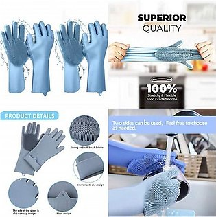 Magic Silicone Dishwashing Scrubber Dish Washing Sponge Rubber Scrub Gloves Kit…
