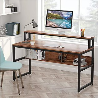 Computer Desk with Shelves, Office Writing Desk with LED Stand