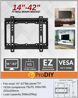 "LCD LED TV Bracket Flat Panel Fixed Mount Wall Mount 14""~42"" Screen HDTV"