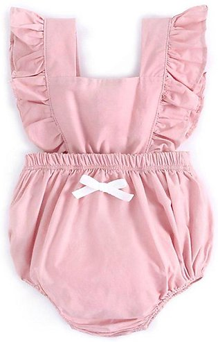 Colorful Cute baby girl ruffle solid color romper jumpsuit outfits Sunsuit