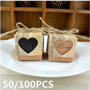 50/100PCS Love Heart Kraft Paper Chocolate Candy Gift Boxes Wedding Party Decor