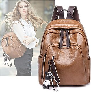 Pu Leather Cubs Pendant Pure Color Fashion Girl Backpack Harajuku Popular Women…