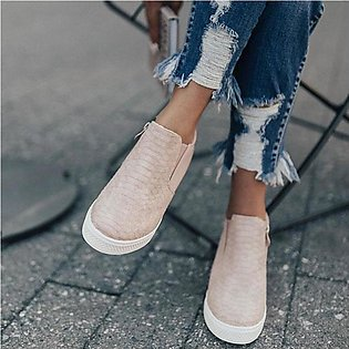 Women's Casual Shoes Suede Flat Zipper Round Toe Comfortable Loafers Boots