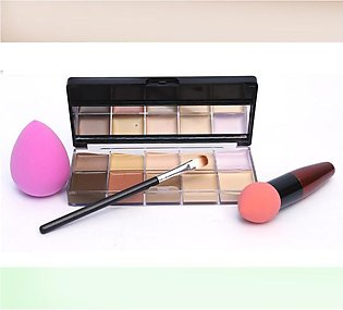 Pack Of 3 Cosmetics: 1 Kiss Beauty 10 Color Countour Kit + 1 Flawless Puff Blen…