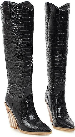 Women Knee High Boots Cowboy Pointed Toe Pull On Strange High Heel Western Thick