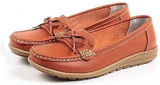 Fashion Women Bowknot Slip On Leather Soft Flat Casual Lazy Loafers