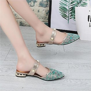 Korean Style Women Sandals Lady Shoes Women Ladies Summer Pearl Bling Embroider…