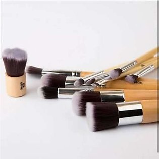 11Pcs Wood Handle Makeup Pro Cosmetic Brush With Pouch