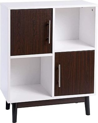 FIVEGIVEN Small White Storage Cabinet Bathroom Floor Accent Cabinet with Brown …