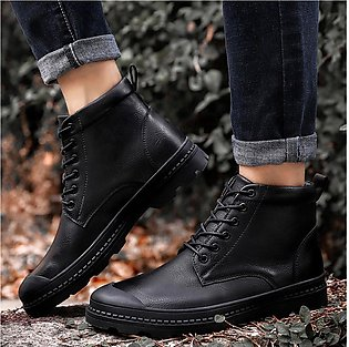 Men's Leisure Leather Round Toe Sport Shoe Lace-Up Flat Sneakers Military Boots