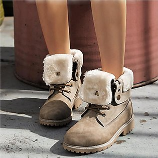 ✫Good Quality✫  Women Winter Warm Tuned Over Edge Sewing Marten Flock Lace Up C…