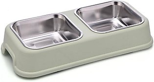 Double Dog Bowl Pet Feeding Station Stainless Steel Water Food Bowls Feeder Sol…