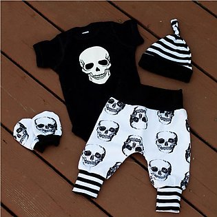 Men'S And Children Summer Short Sleeves Halloween Skull Head Harry Four Set Chi…