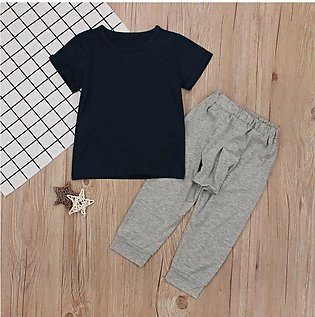 Children'S Summer Boys Short Sleeve Pure Color Top T-Shirt + Grey Trousers Tren…
