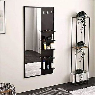 Toheed wood dressing table with shelves, mirrors and hanging hooks