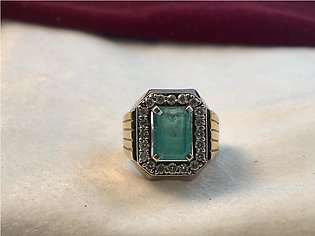 Silver Ring With Diamonds and Emerald Stone For Men