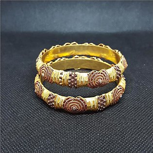 Azeem Jewellers Casual Gold plated Antique Bangles for Women 98-O