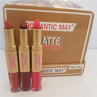 High Quality  3 Romantic May 2 in 1 Matte Lipstick + Lip gloss Cosmetic Makeup