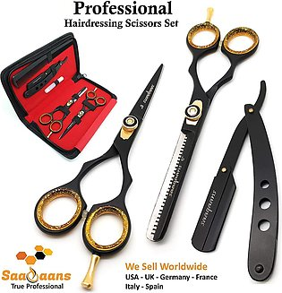 Barber Scissors Razor Edge Quality -  6.5 inches Hairdressing Shears Set in Bla…
