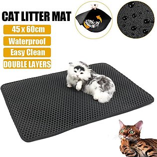 Foldable Double-Layer Cat Litter Mat Waterproof Pad Pet Rug EVA Trapper 60x45cm