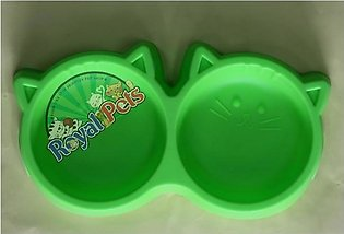 Cat Shaped - Double food bowl - Green