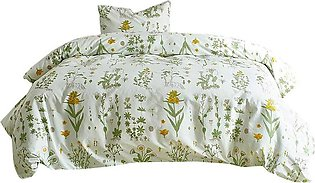 2-Piece Duvet Cover Set Single Bed Quilt Cover Set Leaf Print Pattern Bed Sheet…