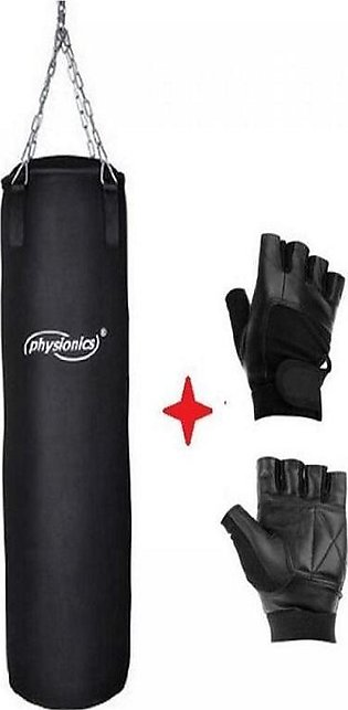 Boxing Bag - 3ft With Free Gym Wrist Wrap Lifting Gloves - Black