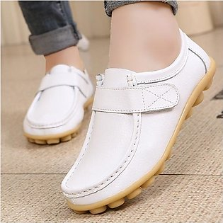 Fashion Women Soft Leather Pure Color Hook Loop Flat Boat Comfortable Loafers S…