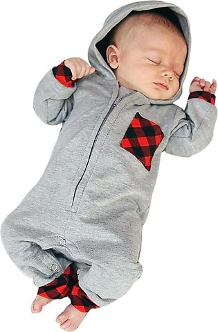 Newborn Infant Baby Boy Girl Plaid Hooded Romper Jumpsuit Outfits Clothes
