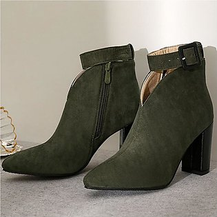 ✫Good Quality✫  Women Ankle Boots Square Heel Shoes Buckle Strap Casual Short F…
