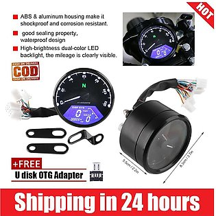 Motorcycle LED Backlight Digital Tachometer Speedometer Odometer Gauge 12000RPM
