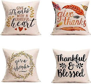 Happy Thanksgiving Day Pillow Covers 4 Pack Fall Decor Cotton Linen Give Thanks…
