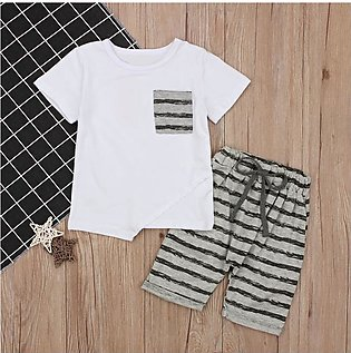 Children'S Summer Boys White Short Sleeve Top T-Shirt + Striped Shorts Trend Tw…
