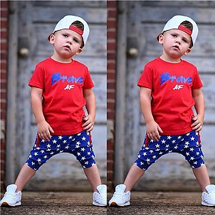 ✫Good Quality✫ Kids Baby Boy 4th of July Letter Printed T shirt Tops Stars Shor…
