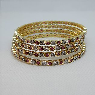 Gold plated, stylish and elegant Bangles set with all real zircones for women 2…
