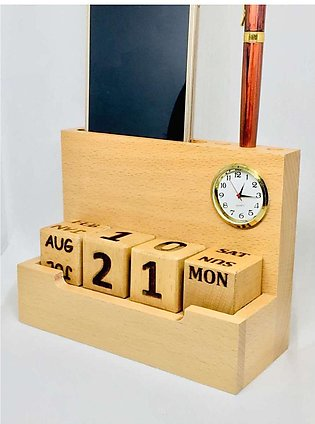 Wooden Calendar forever with Clock, Visiting Card Holder Pure Natural Wood and …