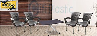Set Of 4 Rattan Plastic Chairs And Plastic Table - Brown