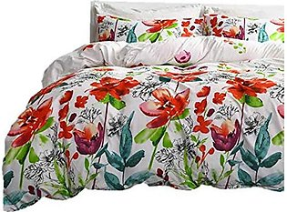 3-Piece Duvet Cover Medium Double Bed Rural Style Bedding Set Microfiber Fresh …