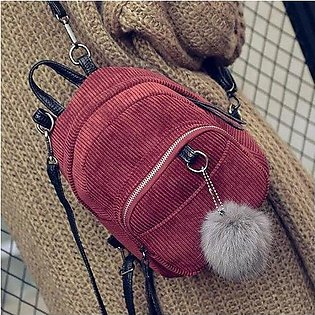 Women Girls Corduroy Backpack Solid Zipper Mini Shoulder Bag