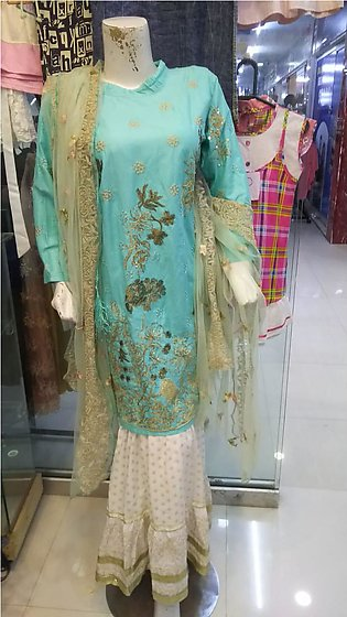Multi color embroidered & stitched 3 piece suit for females stuff cotton by A-J…