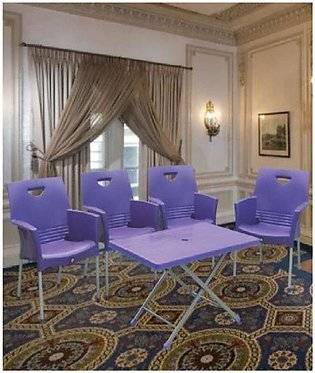 Set Of 6 Relaxo Plastic Chairs and plastic Table - Blue