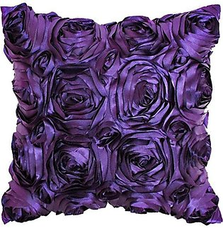 Effect Satin Roses Flower Sofa Bed Cushion Cover Pillowcase Square Pillow - Pur…