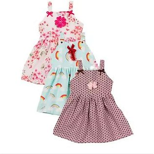 Pack Of 3 - Cotton Printed Summer Baby Frocks - Multicolor Printed Baby Cotton …