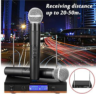 2 Handheld UHF Multi Wireless Microphone Dynamic+LCD Receiver System Portable M…