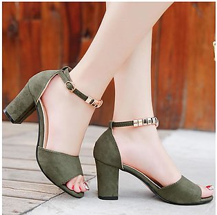 Women Fashion Ladies Buckle Strap Sandals Ankle Mid Heel Party Open Toe Shoes